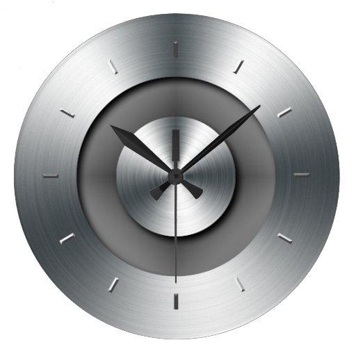 Horloge murale moderne l gante en m tal de faux zazzle - Horloge de cuisine moderne ...