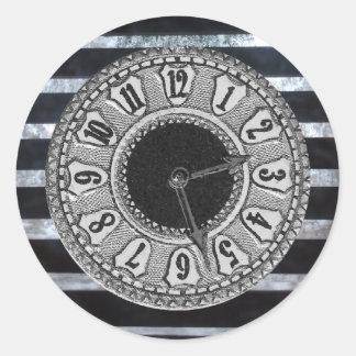 Horloge noire et blanche sticker rond