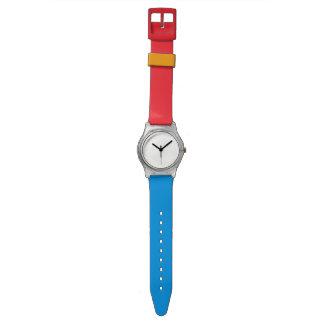 Horloge rood~wit~blauw wrist watches