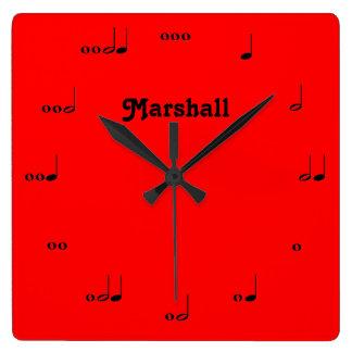 Horloge rouge personnalisée de note de musique