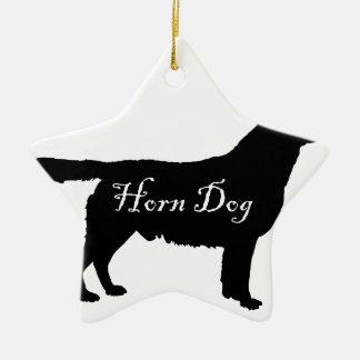 Horn Dog Ceramic Star Ornament