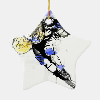 horn football ceramic ornament