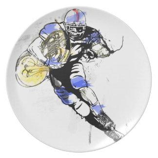 horn football dinner plate