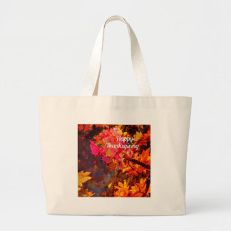 Horn of plenty with flowers to Thanks Large Tote Bag