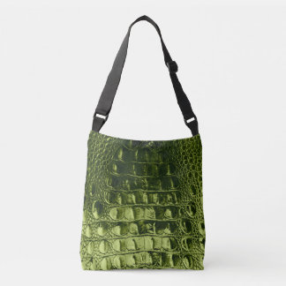 HORNBACK ALLIGATOR BAG METALLLIC OLIVE GREEN