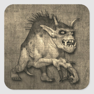 Horned And Clawed Halloween Monster Square Sticker