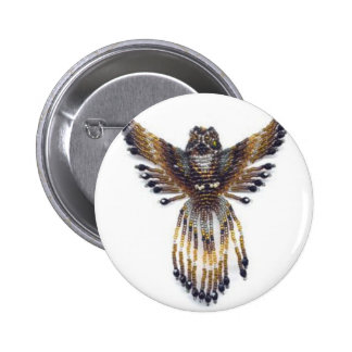 Horned beaded Owl 2 Inch Round Button