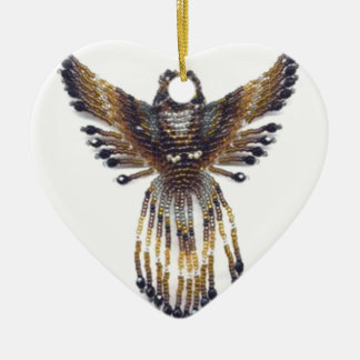 Horned beaded Owl Ceramic Ornament
