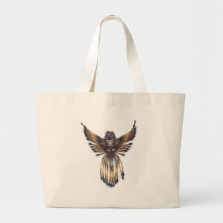 Horned beaded Owl Large Tote Bag