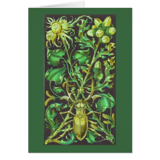 Horned Beetle in Gold and Green Vintage Print Card