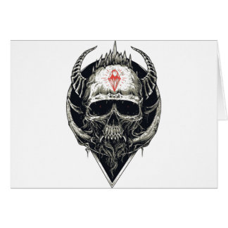 Horned Devil Skull Card