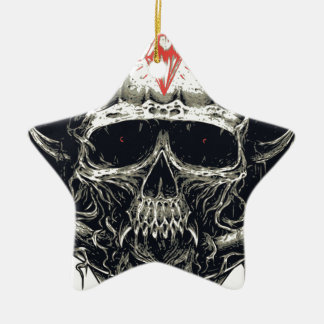Horned Devil Skull Ceramic Ornament