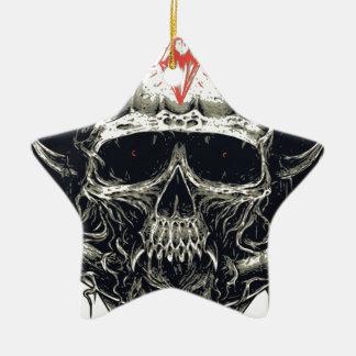 Horned Devil Skull Ceramic Star Ornament