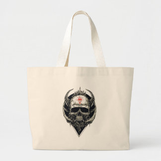 Horned Devil Skull Large Tote Bag