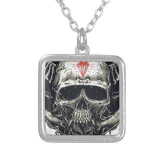 Horned Devil Skull Silver Plated Necklace