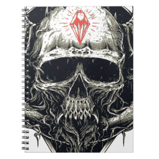 Horned Devil Skull Spiral Notebook