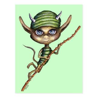 Horned Elf on Bamboo Branch Postcard