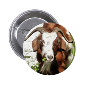 Horned Goat Grazing 2 Inch Round Button