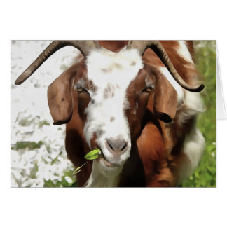 Horned Goat Grazing Card