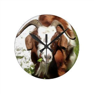 Horned Goat Grazing Clocks