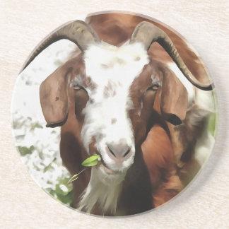 Horned Goat Grazing Coaster