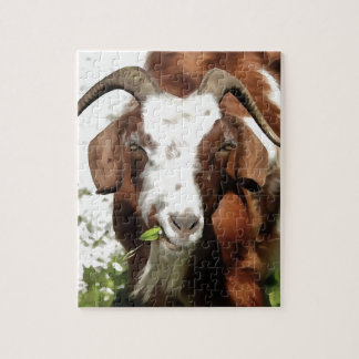 Horned Goat Grazing Jigsaw Puzzle