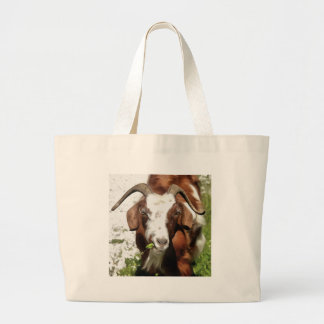 Horned Goat Grazing Large Tote Bag
