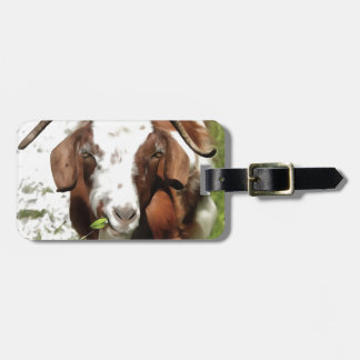 Horned Goat Grazing Luggage Tag