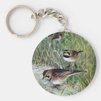 Horned Larks in a Meadow Keychain