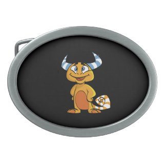 Horned Mythical Creature Oval Belt Buckle