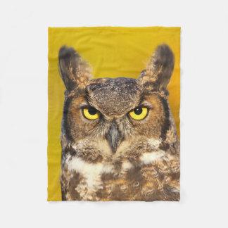 Horned Owl Face Small Fleece Blanket