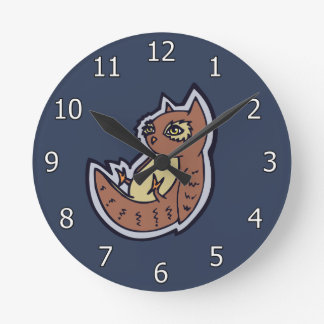 Horned Owl On Its Back Light Belly Drawing Design Clock