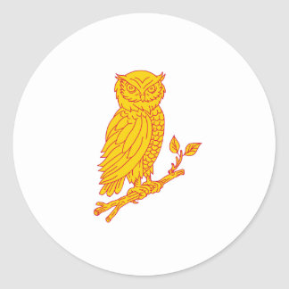 Horned Owl Perching Branch Mono Line Classic Round Sticker