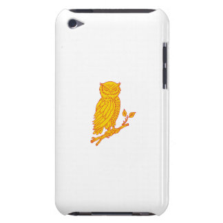 Horned Owl Perching Branch Mono Line iPod Touch Cover