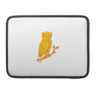 Horned Owl Perching Branch Mono Line MacBook Pro Sleeves