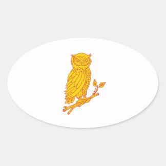 Horned Owl Perching Branch Mono Line Oval Sticker