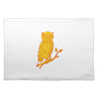 Horned Owl Perching Branch Mono Line Placemat