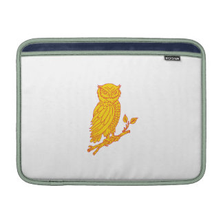 Horned Owl Perching Branch Mono Line Sleeve For MacBook Air