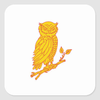 Horned Owl Perching Branch Mono Line Square Sticker