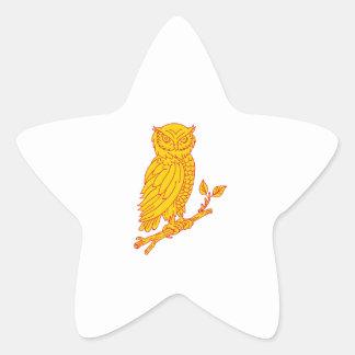 Horned Owl Perching Branch Mono Line Star Sticker