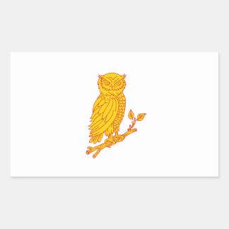 Horned Owl Perching Branch Mono Line Sticker