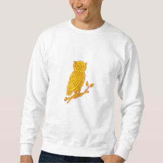 Horned Owl Perching Branch Mono Line Sweatshirt