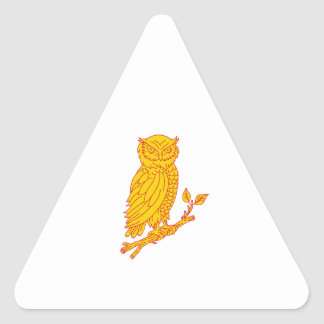 Horned Owl Perching Branch Mono Line Triangle Sticker