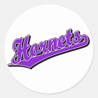 Hornets in Purple Classic Round Sticker