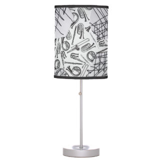 HORNS AND THINGS BLACK AND WHITE TABLE LAMP