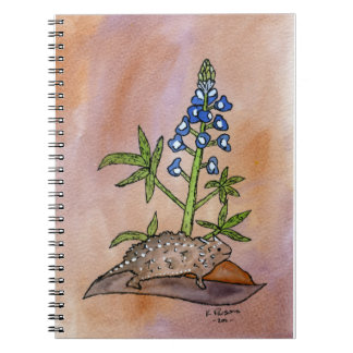 Horny Toad with Bluebonnet Notebooks