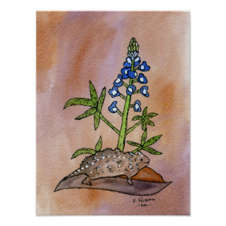 Horny Toad with Bluebonnet Poster