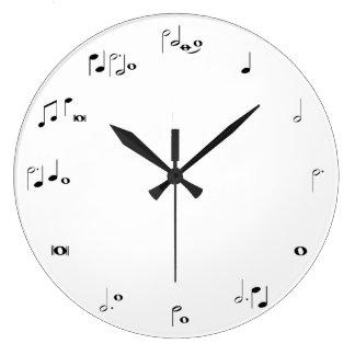 Horodateur musical - noir et blanc grande horloge ronde