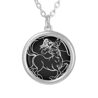 Horoscope Sagittarius Centaur Zodiac Sign Silver Plated Necklace