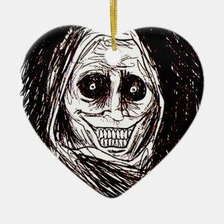 Horrifying House-guest, Never Alone, Uninvited Ceramic Heart Ornament